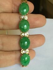 Estate Large Green Jade And 1/2 Carat Diamond In 18k Gold Bracelet