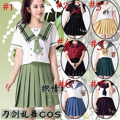Game Touken Ranbu Cosplay Costume Sailor JK Uniform Shirt Top + Skirt 2016 New
