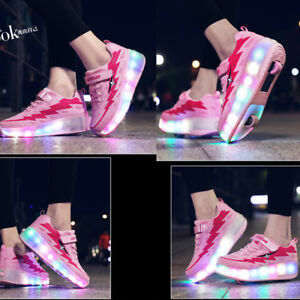 News Kids Flash Jazzy Junior Girls Boys Light Roller Heelys Skate LED Shoes Size