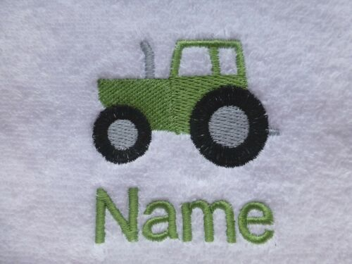 CHILD/'S HOODED ROBE embroidered with a TRACTOR design and Personalised Name