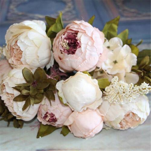 1 Bouquet Artificial Peony Silk Flowers Bridal Hydrangea Wedding Party Decor