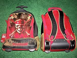Disney-Store-PIRATES-OF-THE-CARIBBEAN-Rolling-Luggage-Back-Pack-Travel-Suitcase