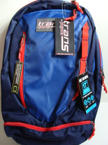 """NWT JANSPORT Trans CAPACITOR Blue Backpack 17/"""" Laptop Sleeve Book Bag Boys NEW"""