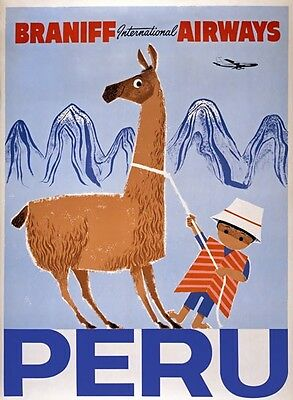 TX235 Vintage Peru South America Braniff Airways Travel Poster A1/A2/A3/A4