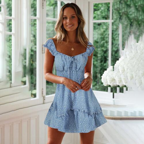 Damen Strandkleid Skater Kleider Sommerkleid Party Geblümt Urlaub Slim Minikleid