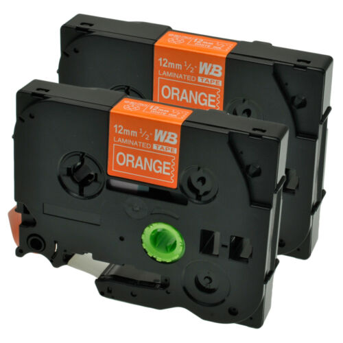 2 Schriftbänder kompatibel zu Brother P-Touch TZE-635 8m//12mm Weiß auf Orange