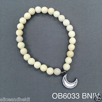 Ivory Beaded Semi-precious Cubic Zirconia Crescent Stretch Bangle Bracelet