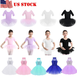US-Kids-Girls-Lyrical-Ballet-Dance-Leotard-Dress-Tutu-Skirt-Gymnastics-Dancewear
