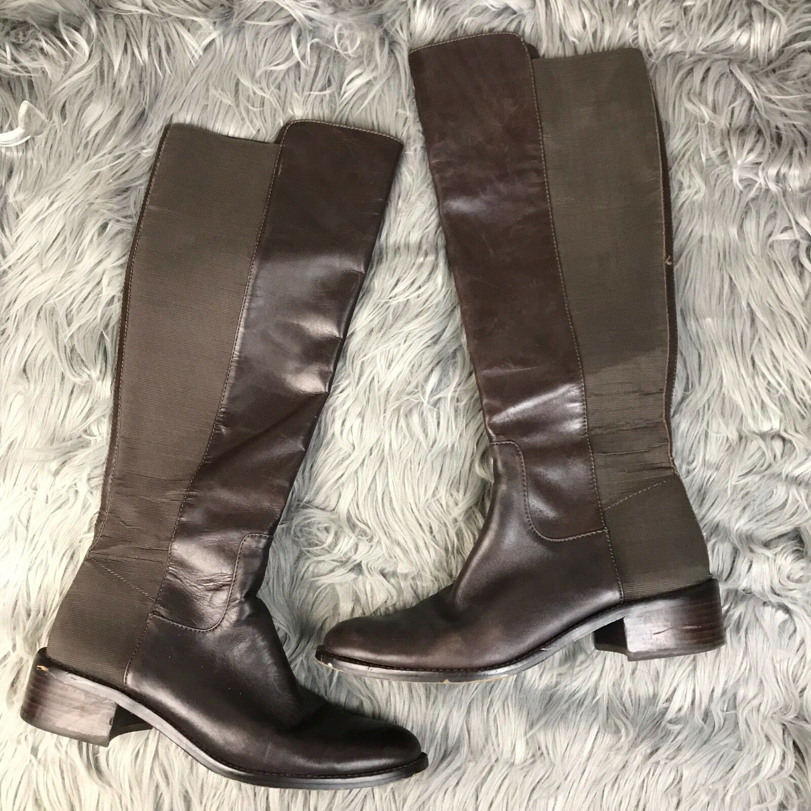 BCBGeneration BCBGeneration BCBGeneration Womens Size 9 Jericho Brown Leather Elastic Back Tall Riding Boots 28975d