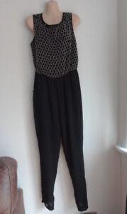 (sep105) Taille 12 * Elite * Chic Noir Perles Combi/combinaison Pantalon Costume Femme-uit Trouser Suit Ladies Apparence éLéGante