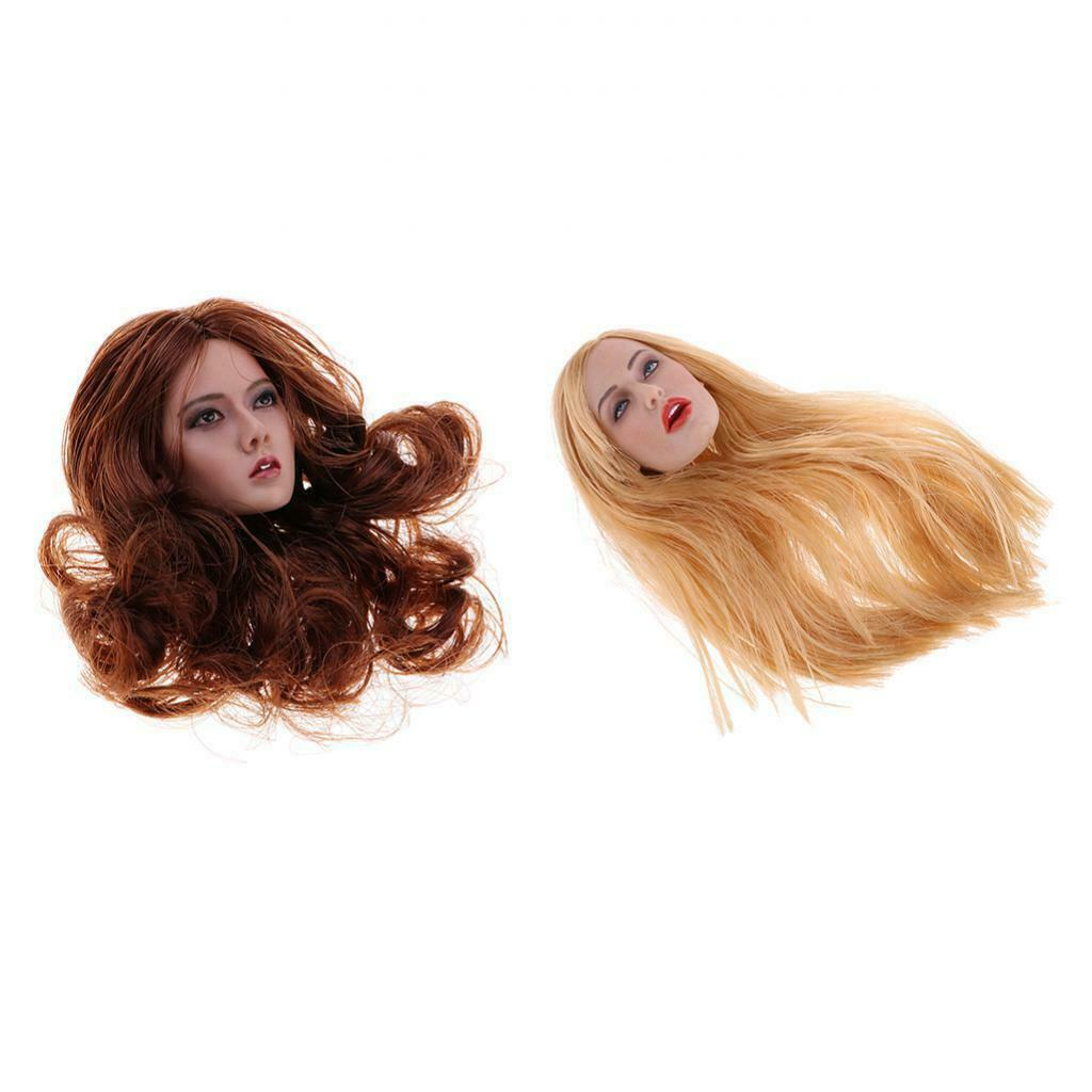 1 6 Carved Girl Body Parts Head Sculpt giallo rosso-Marroneee Hair for 12'' Kumik