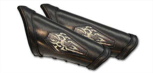 Necromancer Black Leather Bracers Larp Medieval Arm Armor SCA Cosplay Pirate