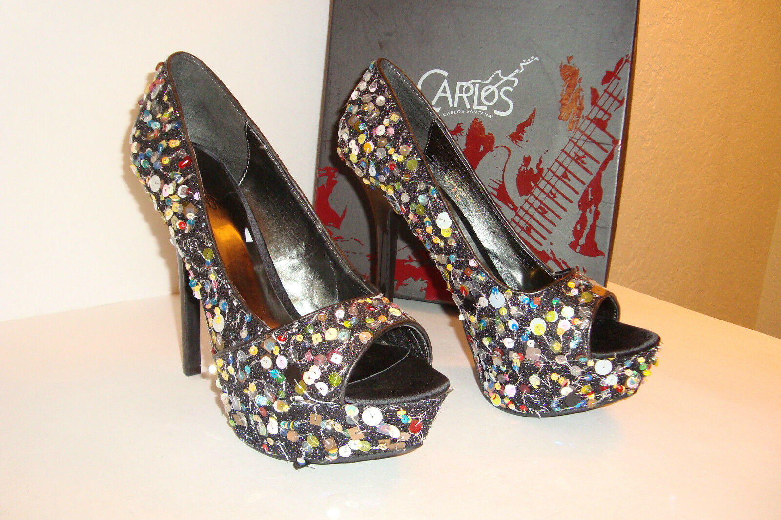 Carlos By Carlos Santana Womens NWB Sexy Black Sequin Heels shoes 9 MED NEW