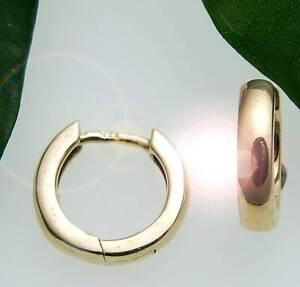 Damen-Ohrringe-Klapp-Creolen-Gold-333-gewoelbt-schwer-12-mm-Gelbgold-Qualitaet