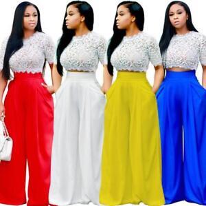 b995fdf0b87 2Pcs Women Crop Top Blouse +Pants Jumpsuit Set Playsuit Lace ...