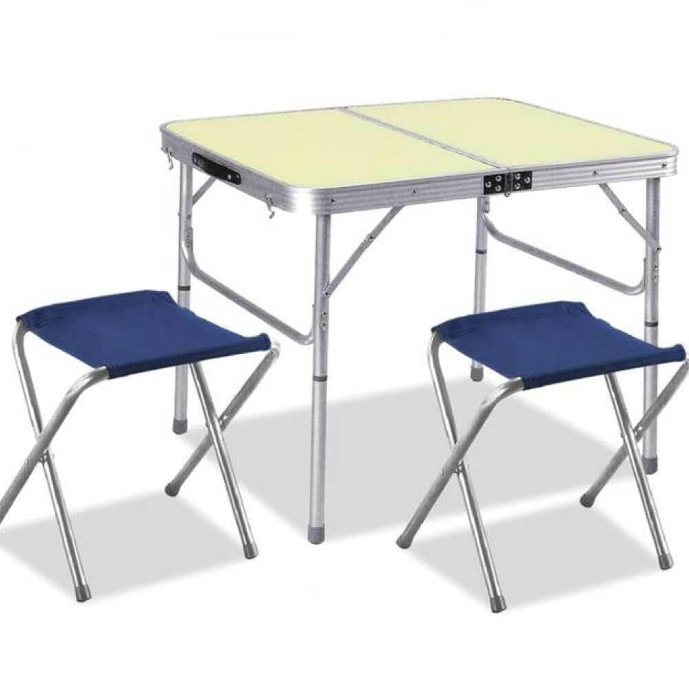 Tavolo Tavolino Alluminio Pieghevole da Campeggio Picnic 90x60cm con 2  Sgabelli  hasta un 65% de descuento