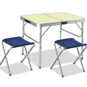 Tavolo Campeggio Alluminio Pieghevole.Dettagli Su Tavolo Tavolino Alluminio Pieghevole Da Campeggio Picnic 90x60cm Con 2 Sgabelli