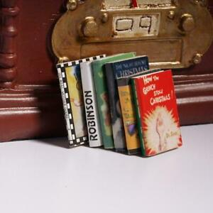 6x-1-12-Wooden-Doll-House-Miniature-Books-For-Dollhouse-Room-Kits-SALE-New