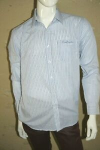 PIERRE-CARDIN-Taille-M-REGULAR-Superbe-chemise-manches-longues-homme-rayures-ble
