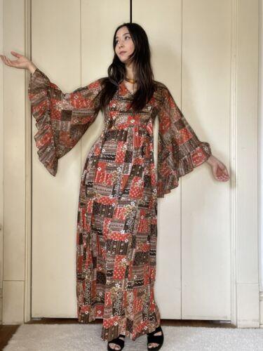 1970's Angel Wing Patchwork Print Maxi Dress