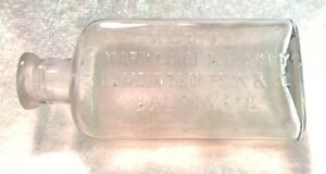 VINTAGE WHISKEY BOTTLES FLASKS ALBION MARYLAND WHISKEY CLEAR BALTIMORE 1/2 PINT