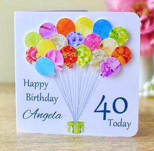 Image Is Loading Personalised 40th Birthday Card Handmade Balloons Mummy
