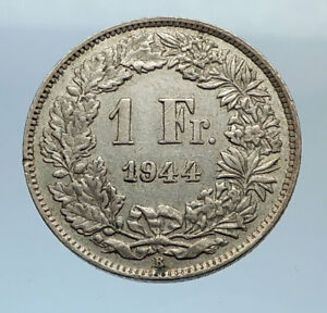 1944-SWITZERLAND-SILVER-1-Franc-Coin-HELVETIA-Symbolizes-SWISS-Nation-i71609