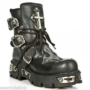 Details about Newrock New Rock 1033 S1 Buffalo Leather Boot Silver T Cross Reactor Black Boots