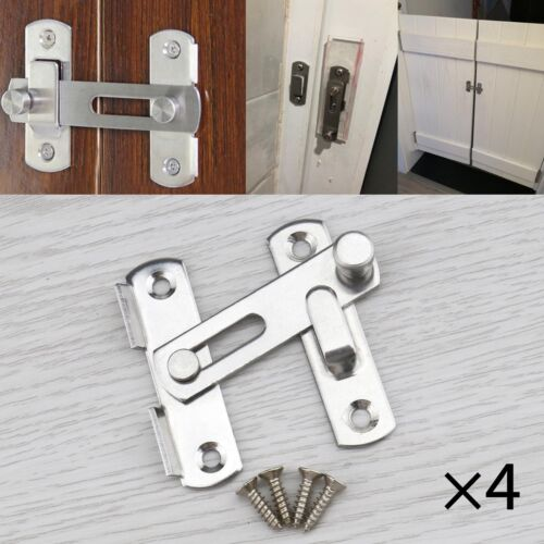 4 Sets of Stainless Steel Flip Gate Lock 2 Inch Safty Door Lock with 16pcs Screw