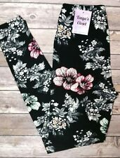 Multi Color Floral Leggings Flowers Printed ONE SIZE  OS