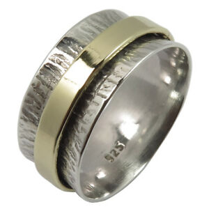925-Solid-Sterling-Silver-TWOTONE-Golden-Hammered-Spinner-9mm-Band-Ring-All-Size