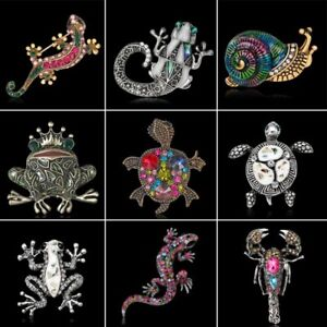 Women Vintage Gold Plated Crystal Rhinesone Gecko Brooch Pin Jewelry Party Gift