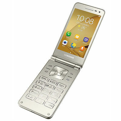 """Samsung Galaxy Folder 2 G1600 3.8"""" Gold 16GB Dual Sim Android Phone By FedEx"""