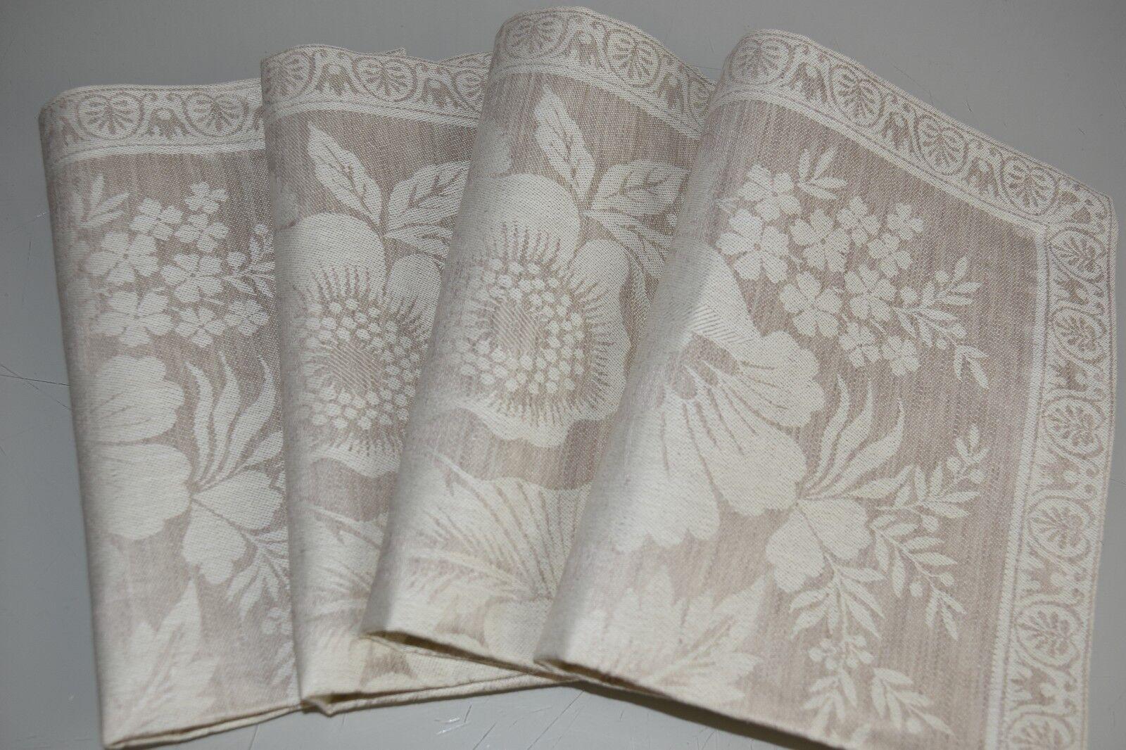 Nouveau WILLIAMS SONOMA Vintage Floral Jacquard napperons Set de 8 Natural Beige