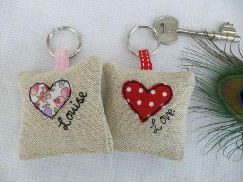 Handmade Lavender Keyring Choice of colour /& Name Heart Love Anniversary Gift