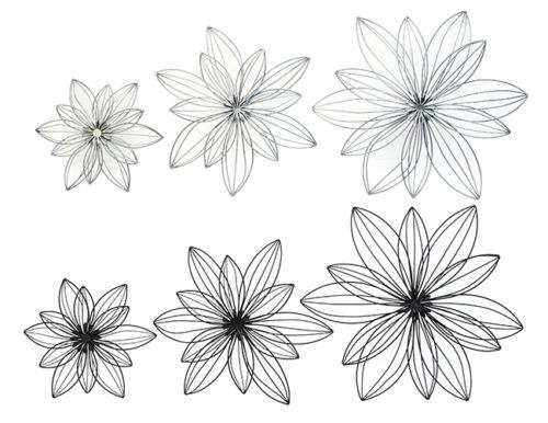 Wanddekor Blüten Blüte Blume Metall schwarz od silber verschiedene Ausführung
