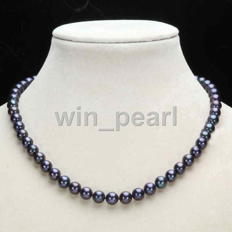 """Genuine Natural 7-8mm Black Akoya Freshwater Pearl Necklace 18/""""AAA"""