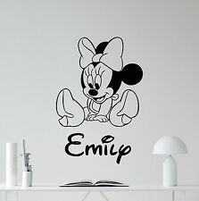 Personalized Minnie Mouse Wall Decal Custom Girl Name Vinyl Sticker Decor 116crt
