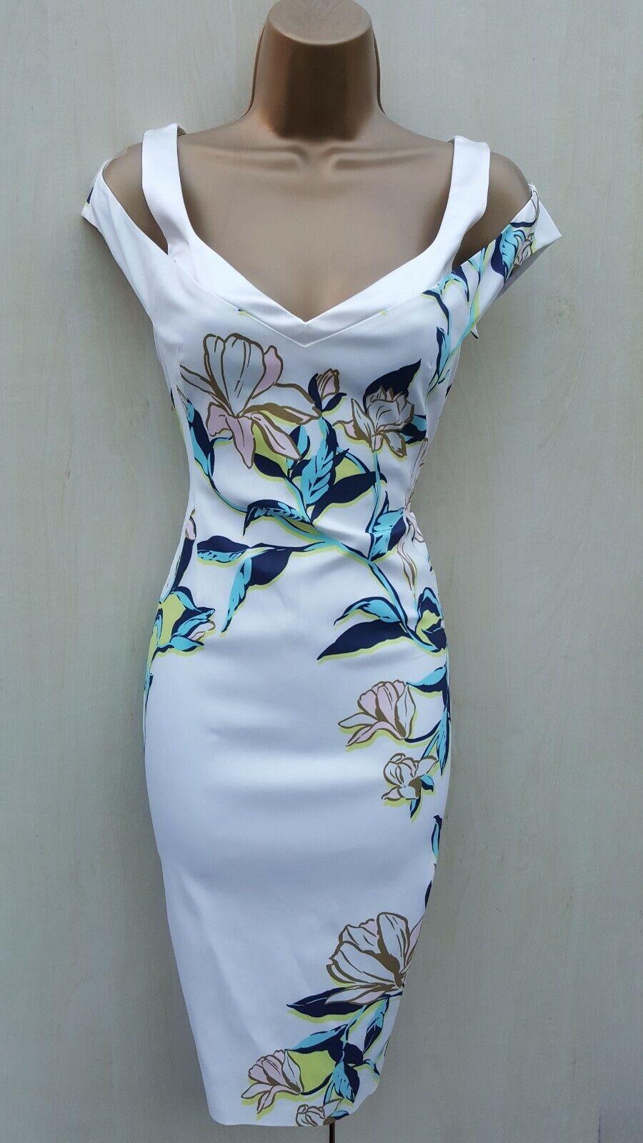 Size 12 UK Karen Millen Aqua Floral Print Off The Shoulder Bardot Pencil Dress
