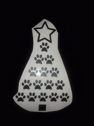 Paw Prints Christmas Tree Christmas Inspired Vinyl Sticker for Wine Bottle