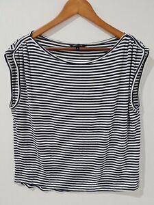PORTMANS-Women-039-s-Striped-Blouse-Navy-White-Sleeveless-Size-S