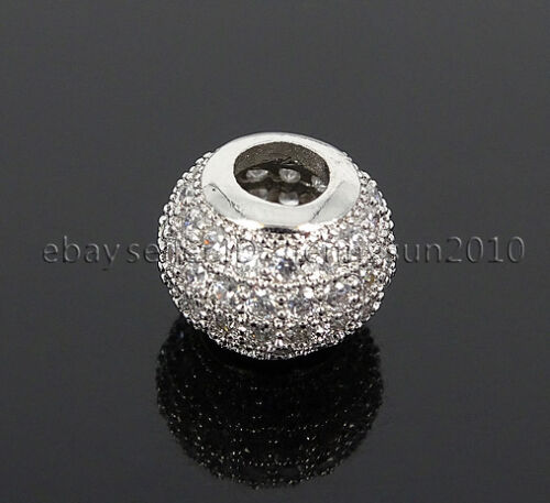 Four Rows Zircon Gemstone Pave Big Hole Rondelle Bracelet Connector Charm Beads