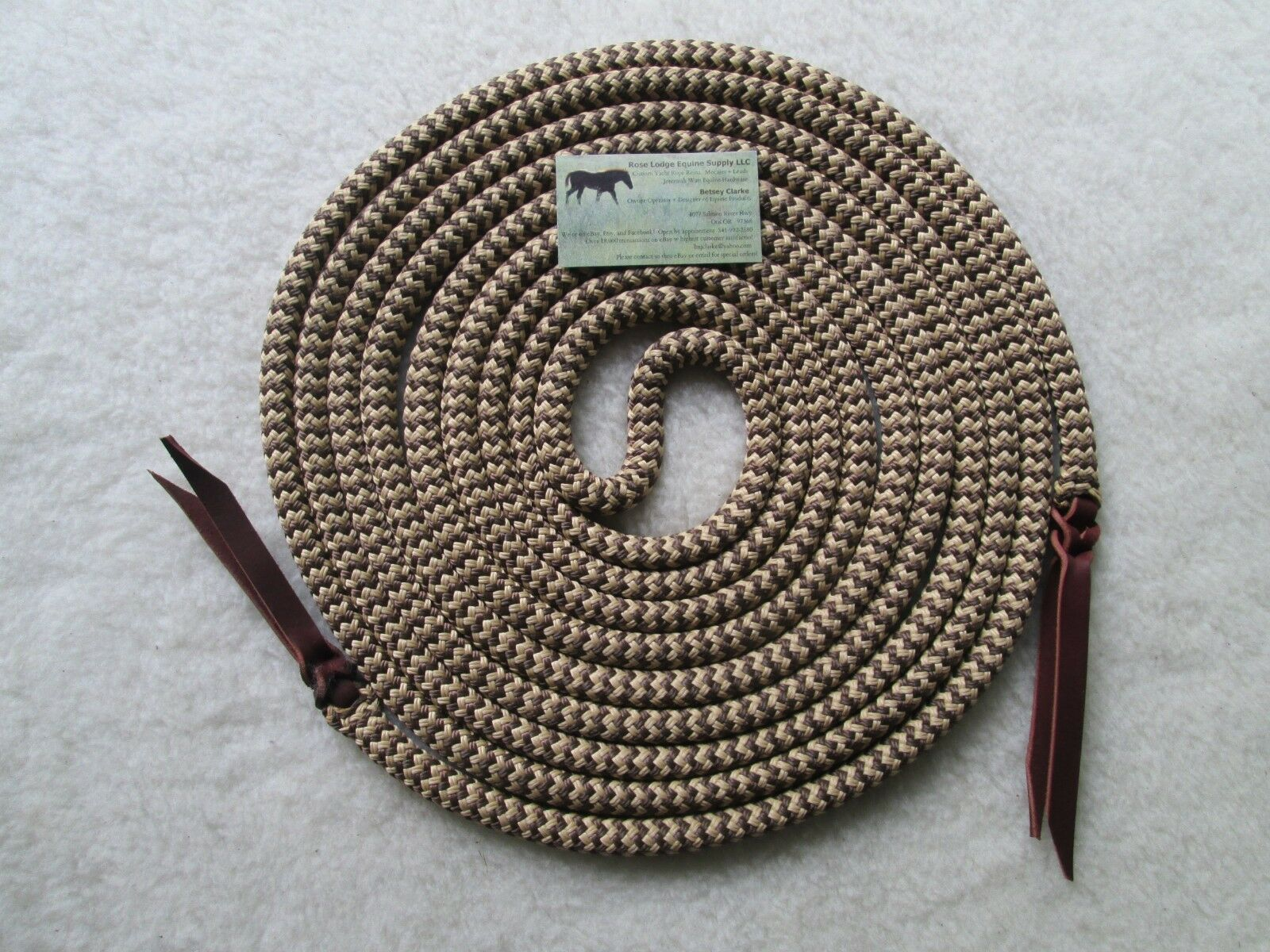 22' SNAKESKIN (Brown   Tan) Yacht Rope Mecate Reins 4 Slobber Straps or Bosal