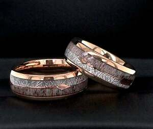 Details About Mens Wedding Band Women Ring Unique Wedding Band Ring Rose Gold Tungsten Car