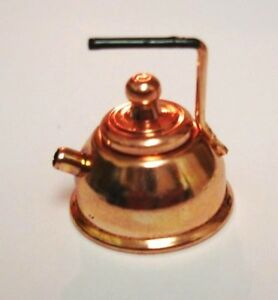 1PCS 1:12 Dollhouse Miniature Copper Tea Kettle Tea Pot Classic ToysRKCA