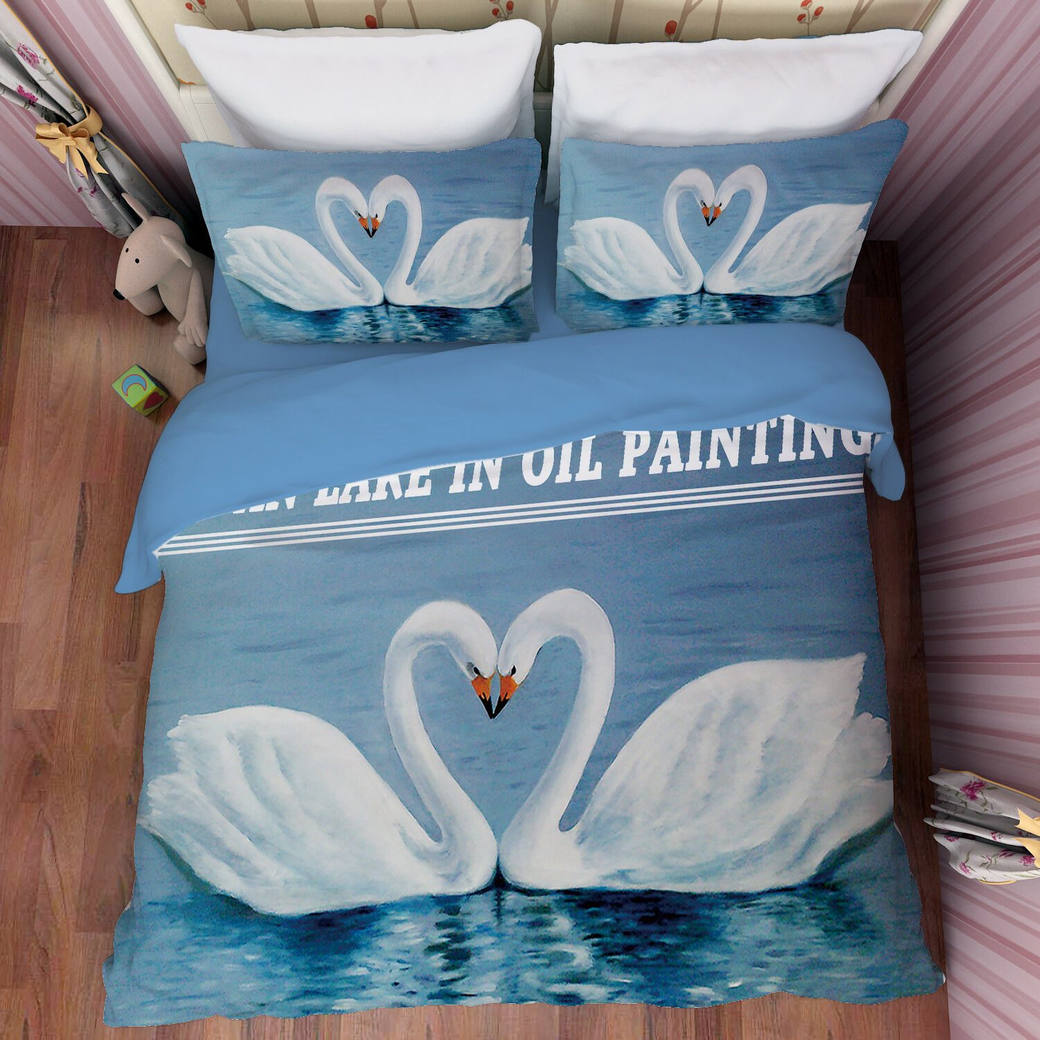 3D Swan Lake Water 8 Bed Pillowcases Quilt Duvet Cover Set Single Queen AU Carly