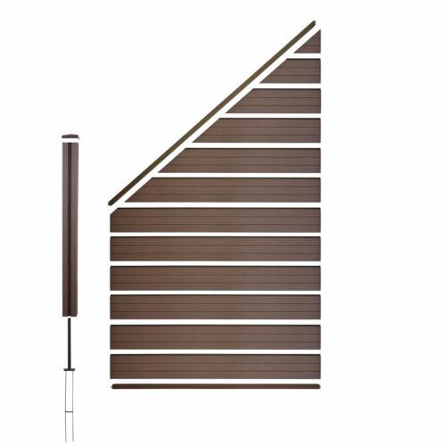 WPC-Sichtschutz Sarthe WPC-Pfosten Erweiterung schräg links 0,98m braun