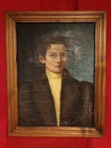 Ancien-portrait-XIX-eme-s-huile-sur-toile