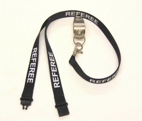 METAL REFEREE/'S SPORTS WHISTLE /& HI QUALITY 15MM STAFF LANYARD FREE SHIPPING