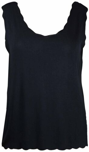 New Ladies Plain Sleeveless T-Shirt Top Womens Scallop Neck Vest Plus Size 12-26